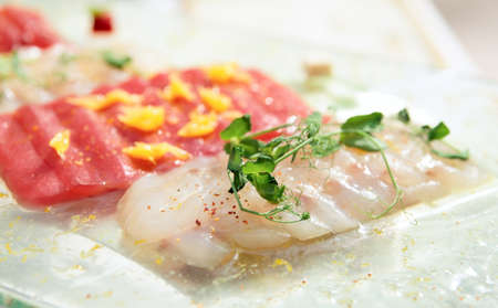 Carpaccio of tuna and seabass, close-up Stock Photo - 13970830