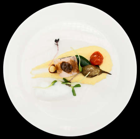 Chicken dish with potato mash on plate, isolated on black background photo