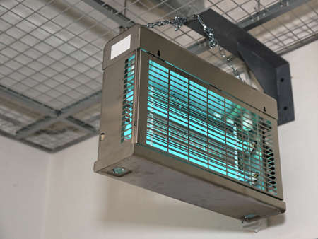 ultraviolet: Ultraviolet lamps used to sterilize air on food processing plants