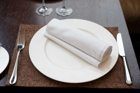 Place setting in expensive restaurant photo