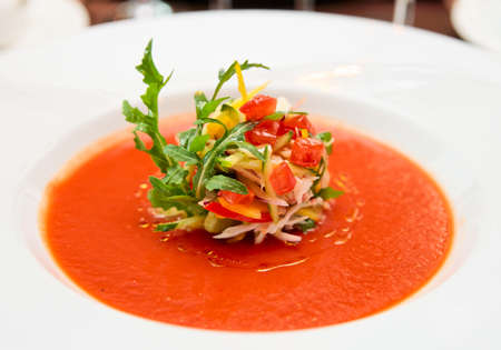 gaspacho: Soup in plate close-up