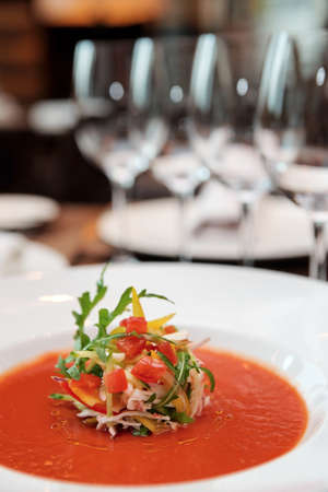 haute: Soup on table in expensive restaurant Stock Photo