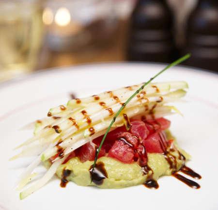 potato tuna: Tuna carpaccio with potato mash in plate