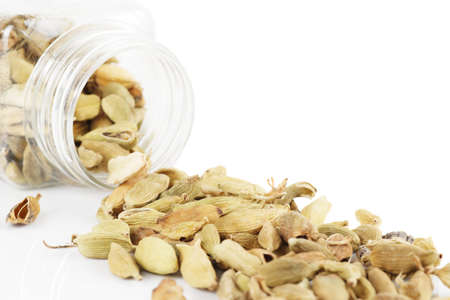cardamum: Cardamom spilled from plastic container, isolated on white