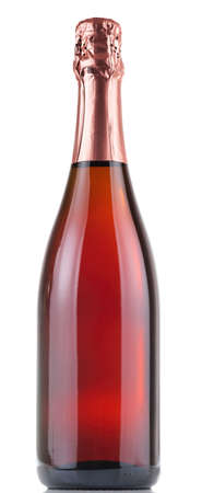 botella champagne: Botella de champán aislados en fondo blanco Foto de archivo