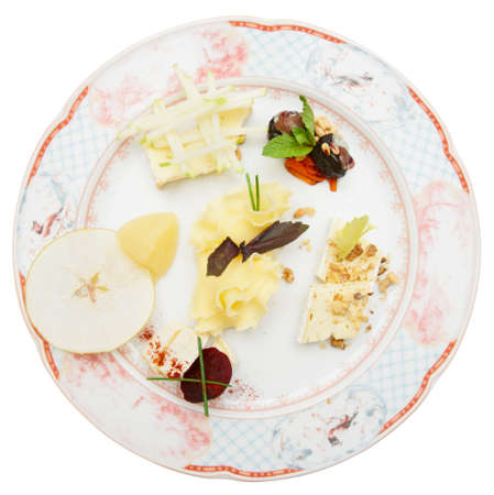 chinoiserie: Cheese plate with fruits and nuts isolated on white background