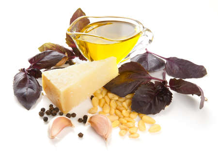 Ingredients of pesto sauce isolated on white background Stock Photo - 18028191