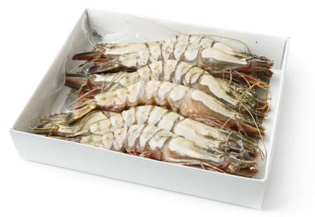 prawns in retail pack, isolated on white with smooth shadow photo
