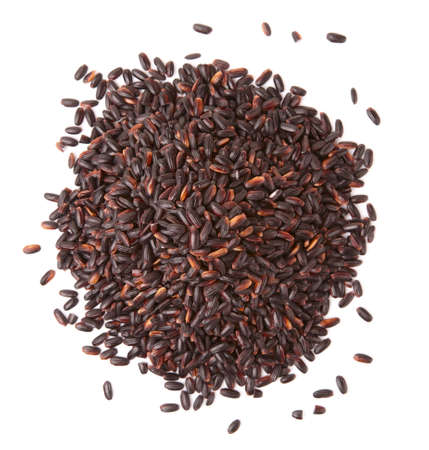 wild rice: Heap of black forbidden rice isolated on white background Stock Photo