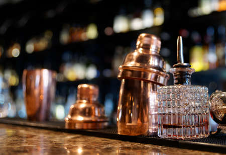 privilege: Bartender tools on old style bar counter
