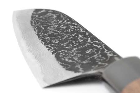 grinded: Blade of expensive carbon steel japanese knife, close-up shot