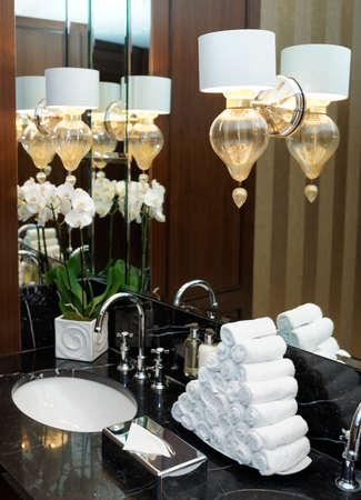 hotel bathroom: Restroom in hotel or restaurant, detail Stock Photo