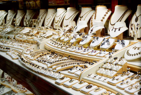 costume jewelry: Garnet jewelry shop, window display