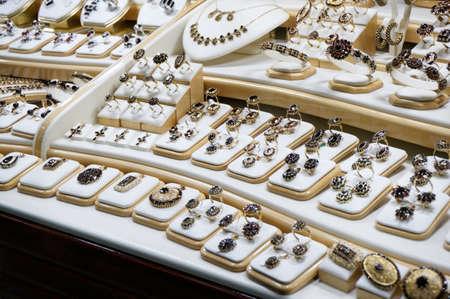 Garnet jewelry shop window display photo