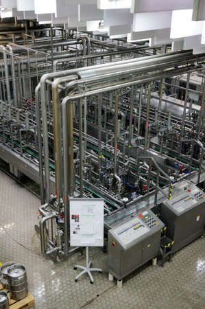 beer production: Beer making plant shot in operation