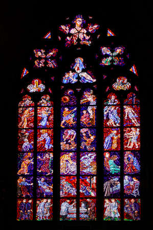 vitus: Stained window in st. Vitus cathedral, Prague, Czech republic