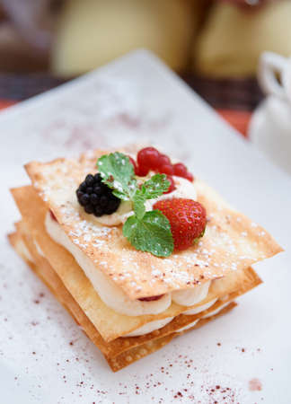 napoleon: Mille-feuille cake with raspberries and sweet cream Stock Photo