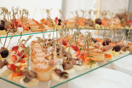 Fish, meat and cheese snacks in plate on banquet table photo