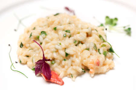 risotto: Risotto with lobster and herbs on plate, close-up Stock Photo