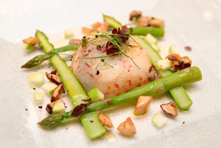 Shrimp carpaccio with asparagus in plate, close-up photo