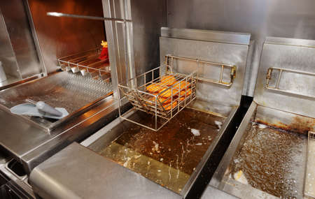 fryer: Cooking in fast food restaurant, real life
