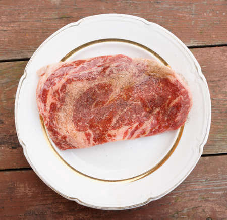 oiled: Premium quality ribeye steak, oiled and peppered Stock Photo