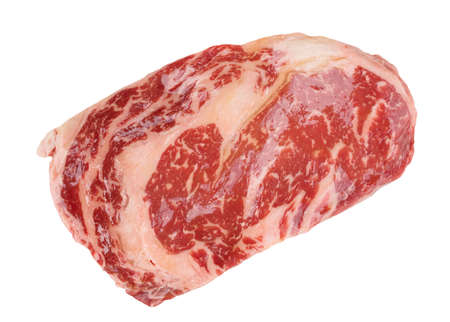Premium quality kobe beef ribeye steak isolated on white background photo