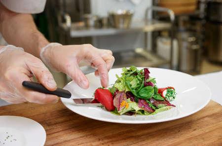 Chef macht eine Vorspeise bei Profi-Küche