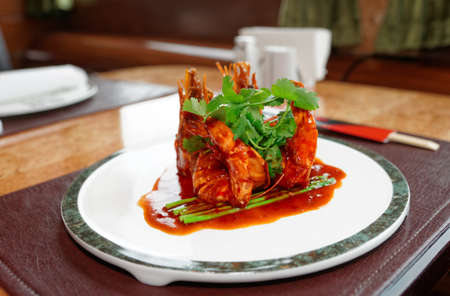 cuisines: Wok fried shrimps with sweet sauce and coriander leaves, chinese food