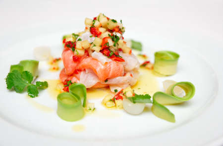 fine fish: Ceviche of seabass and salmon with finely cut vegetables