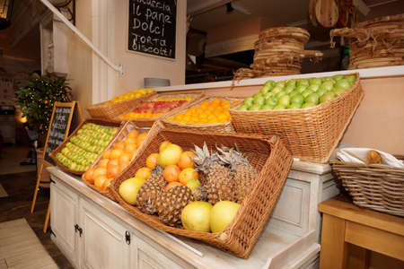 Shelf with fruits in an italian restaurant photo