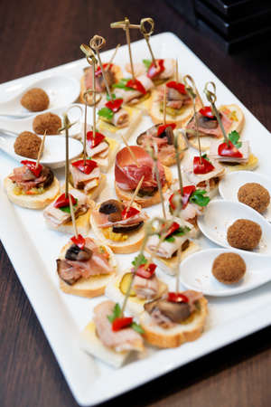 party tray: Various snacks in plate on banquet table