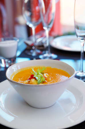 gaspacho: Pumpkin soup with chili pepper on restaurant table