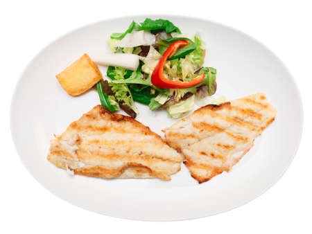 sea bass: Grilled seabass fillet in plate, isolated on white Stock Photo