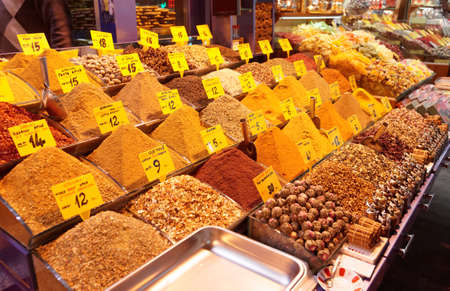 Spices on Turkish market stall photo