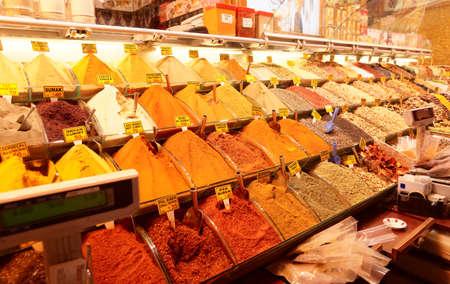 Various spices on Turkish market photo