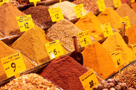 Spices on Turkish market stall, close-up photo