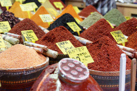 Various spices on oriental bazaar, Istanbul, Turkey photo