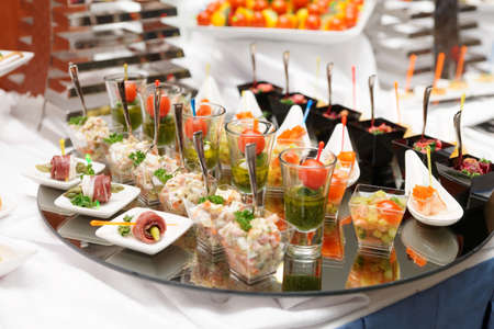 Various snacks on table, banquet food