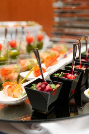 toothpick: Various snacks on glass platter