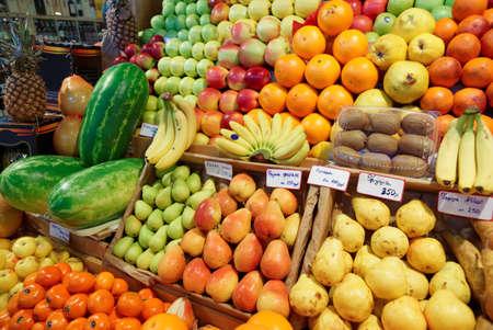 quantity: Shelf with fruits on a farm market