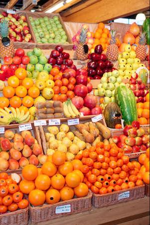 Shelf with fruits on a farm market photo