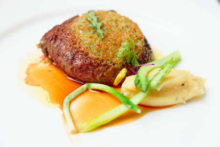 rib eye: Rib eye steak with potato puree