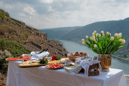 old fashioned vegetables: Lunch at the vineyard, serene scenery, Moselle river, Germany Stock Photo