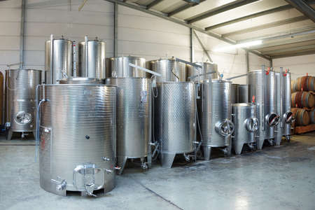 Fermentation stainless steel vats in a winery Stock Photo