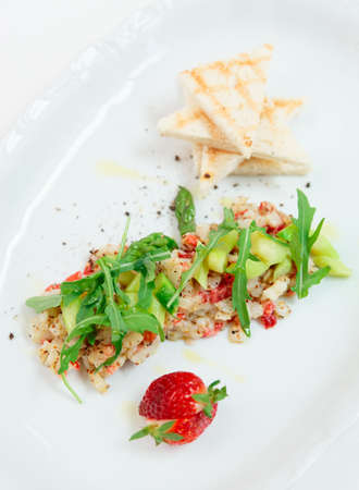 tartar: Seabass carpaccio with strawberry and mustard