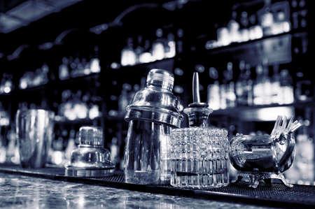 bartending: Bartender tools sitting on bar counter