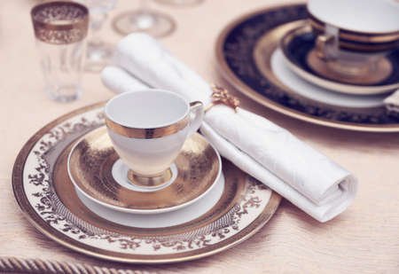 empty plate: Set of fine bone porcelain dishware, toned