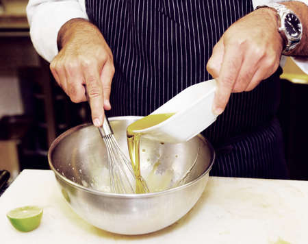 stirring: Chef is preparing sauce, toned