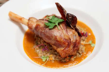 roast lamb: Lamb leg with lentils and pumpkin mash Stock Photo